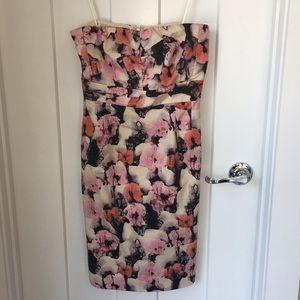 J.Crew patterned strapless dress